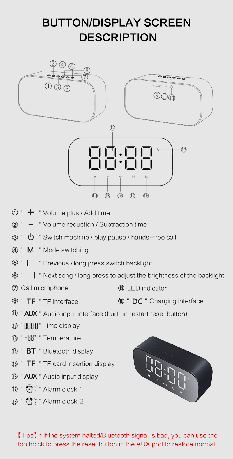 Bluetooth Mirror Alarm Clock with Speaker and FM Radio including Time and Temperature Display Useful for Listen to Music and Makeup at the Same Time 23