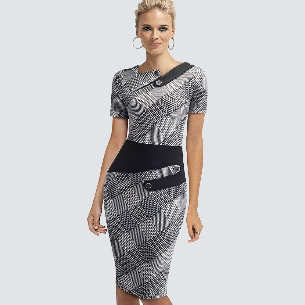 Элегантное платье размера плюс для работы, женское офисное платье в деловом стиле, Повседневная Туника, облегающее платье-футляр, облегающее официальное платье-карандаш, B63 B231 - Цвет: Grid