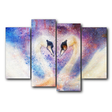 Swan Love Romantic Abstract Vintage Canvas Painting Animal Posters and Prints Wall Art Living Room Bedroom Wedding