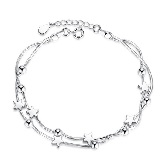 Brand Fashion Silver Jewelry Ladies Bracelets Pentacle Square