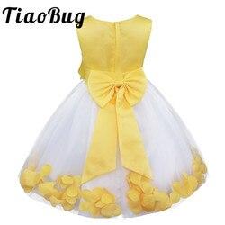 TiaoBug Infantil Vestido Infantil Vestidos de Meninas de Flor Pétalas Elegante Pageant Formal Vestidos de Festa Vestido Da Menina Flor para o Casamento