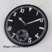 Подходит для ETA 6498 ручной завод части часов 38,9 мм черный стерильный циферблат римские арабские цифры часы циферблат+ часы руки