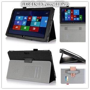Image 1 - Cho Venue 11 Pro 5130 PU Lichee Họa Tiết Bao Da Túi Đựng 10.8 inch Dell Venue 11 Pro 5130 Nam Châm ốp lưng + Tấm bảo vệ màn hình