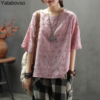 Vintage Retro Pink T shirts for woman Short sleeve Tees O neck Summer Thin Cotton Tops Irregular Loose T shirts A0BZ30