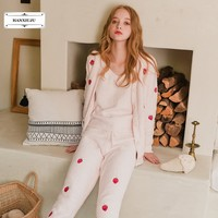 Winter Soft Microfiber Velvet Women 3 Pieces Pajamas Sets Cute Strawberry Long Sleeve Thick Warm Sleepwear Home Clothes 181535