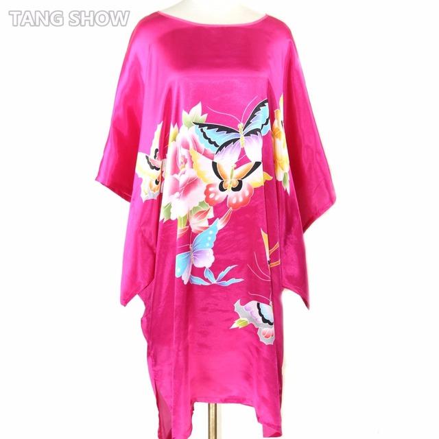 Nova Rosa das Mulheres vestido De Roupão de Seda Estilo Chinês Impresso Camisola Yukata Kaftan Borboleta Impressão Sleepwear Plus Size 6XL RB016