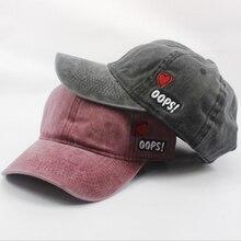 a45467a6308d9 Algodón casual lavado retro gorra de béisbol para las mujeres hombres carta  bordado OOPS SnapBack sombreros