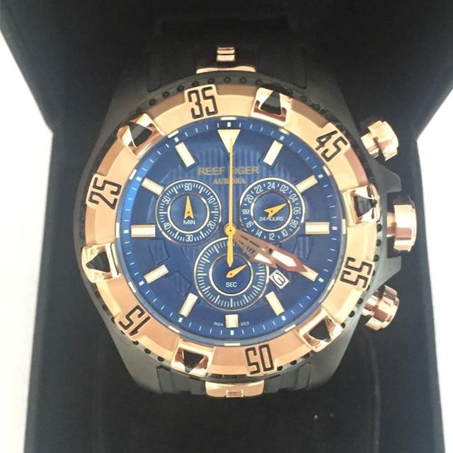 Relojes hombre top 2017 brand luxury Reef Tiger Sport Mens wrist Watches Chronograph Date Rubber Strap waterproof Quartz Watch