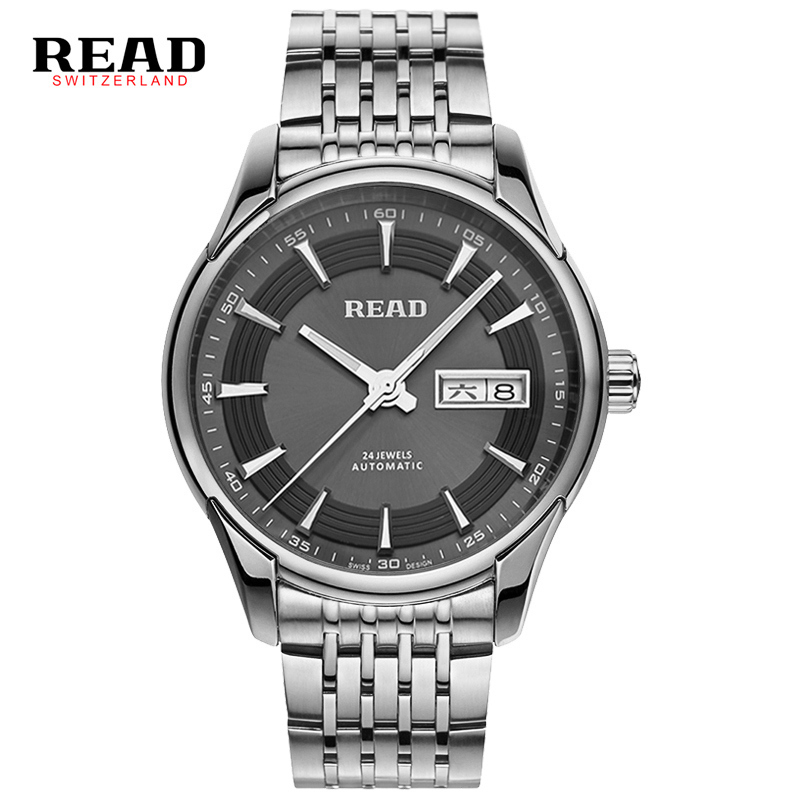 READ brand tops automatic watches men Minimalism luxury black  watch men full steel relogio Japan movement week and date 8082