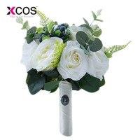 XCOS New Wedding Bouquet Plants Floral Bouquet Gift Lace Handle Keepsake Bouquet Garden Theme Wedding Flowers