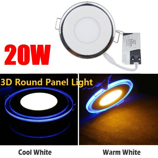 20W Round LED Panel Light / Acrylic Recessed Ceiling Panel Down Light Lamp Cool White Free Shipping