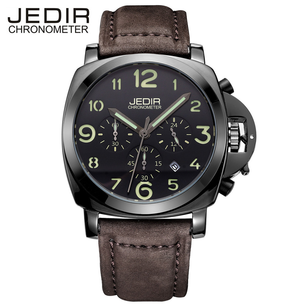 Mens Watches 2016 JEDIR Chronograph 6 Hands 24 Hours Function Leather Sports Watch Brand Man Military Watches relogio masculino megir mens chronograph 6 hands 24 hours function sport wrist watches luxury silicone military quartz watch man relogio masculino