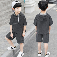 feiluo School Boy Sets Summer Tops & Pants Casual stripe  Kids Sports Suit Child Clothes 5 6 7 8 9 10 11 12 13 14 Years STDA06