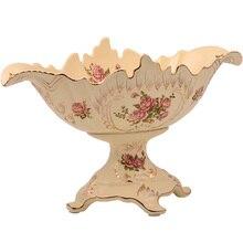 Большой слоновой кости керамика фрукты ручная роспись золотой обод ретро фарфоровая тарелка закуски гайка коробка для украшения дома