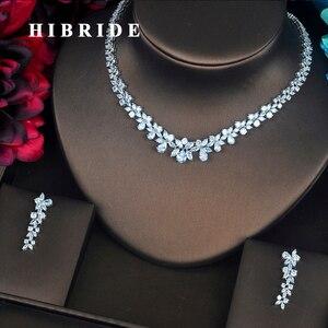 Image 1 - HIBRIDE Conjuntos de joyería femenina de circonia cúbica transparente con forma de flor, conjunto de collar y pendientes para regalos de fiesta de boda, N 217