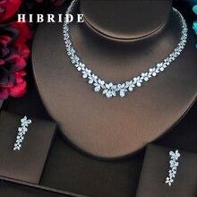 HIBRIDE Lüks Çiçek Şekli Temizle Kübik Zirkon kadın mücevheratı Setleri Kolye Küpe Seti Düğün Parti Hediyeler Için N 217