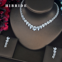 HIBRIDE Luxury Flower Shape Clear Cubic Zircon Female Jewelry Sets With Necklace Earring Set For Wedding Party Gifts N 217