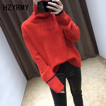 HZYRMY Autumn Winter New Women' Cashmere Sweater Fashion High Collar Loose Thick Sweaters Solid Wool Pullover Female Large Shirt цена и фото