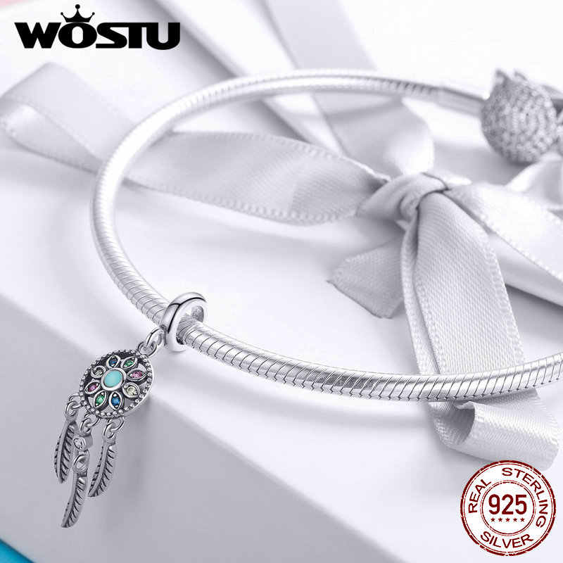 WOSTU Authentic 925 Sterling Silver Beautiful Dream Dangle Charms พอดีสร้อยข้อมือและสร้อยคอจี้ Elegant เครื่องประดับ DXC961