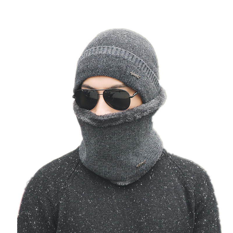2017 new winter burst wool knitted hat men's autumn and winter models two-piece ladies hats cap Winter men winter mask hat wool felt cowboy hat stetson black 50cm