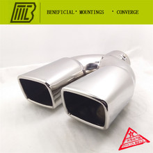 Car Exhaust 1 into 2 Muffler square straight pipe  Modified Tail Pipe Caliber 7.6cm Length 26cm general tail EXHAUST PIPE