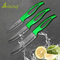 """Cuchillo de cerámica Anhichef juego de cocina 3 """"4"""" 5 """"pulgadas hoja negra Mango Verde Paring fruta Cocina cuchillos"""