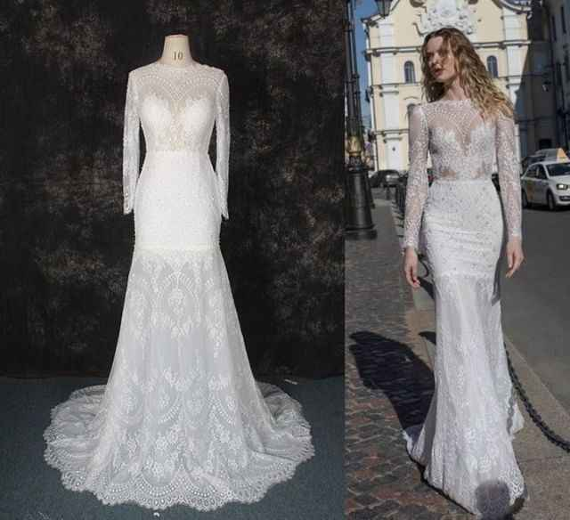New Gorgeous Long Wedding Dress 2019 High Neck Long Sleeves Court Train Beaded Lace Mermaid Bride Dress Robe de mariage