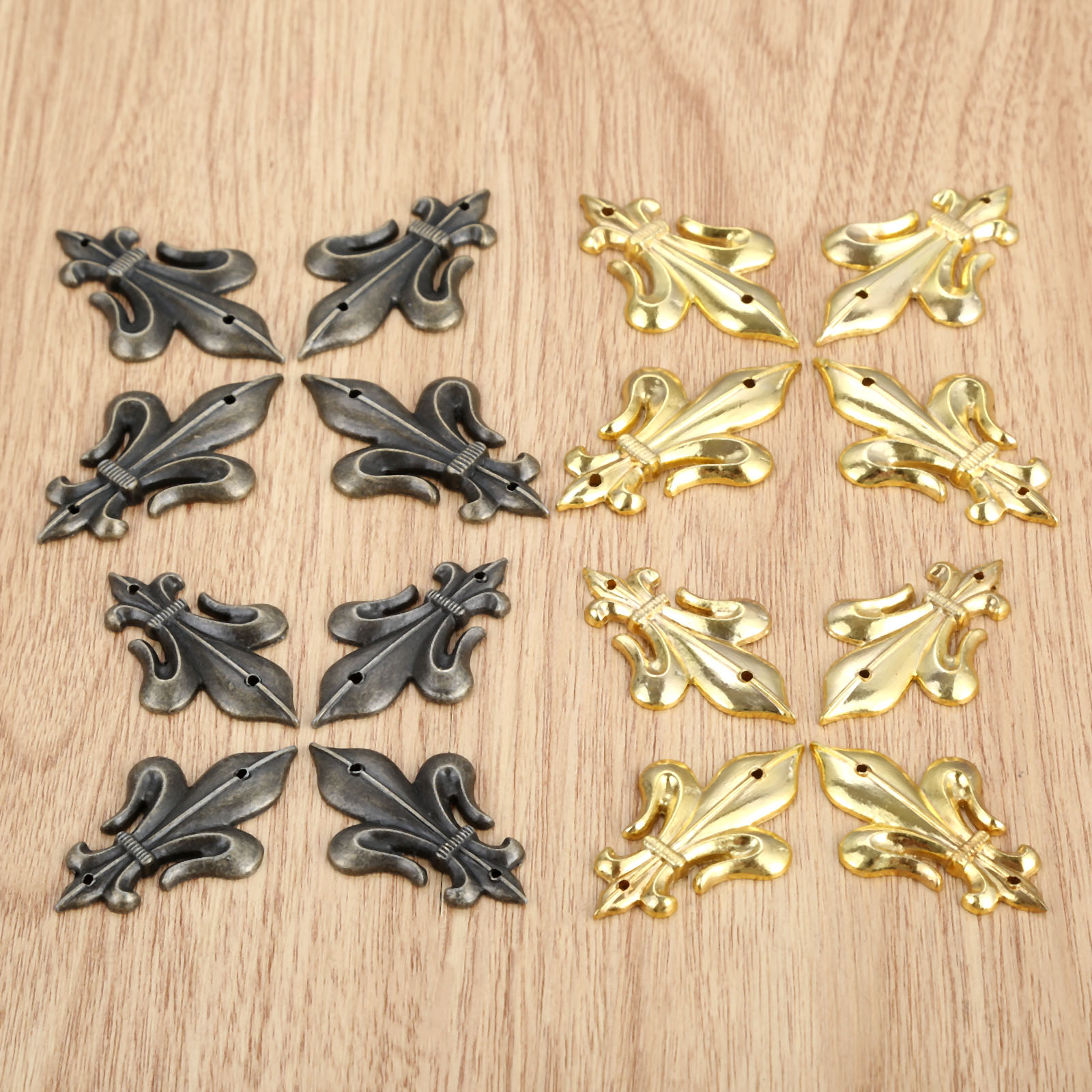DRELD 4Pcs Antique Brass/Gold Furniture Decorative Corner Brackets Jewelry Box Wood Case Feet Leg Corner Protector With Nails