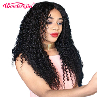 Wonder girl Lace Front Human Hair Wigs For Black Women Pre Plucked Brazilian Curly Wig With Baby Hair No Shedding Non Remy