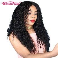 Wonder meisje Kant Voor Menselijk Haar Pruiken Voor Zwarte Vrouwen Pre geplukt Braziliaanse Krullend Pruik Met Baby Haar Geen Verlies Niet Remy