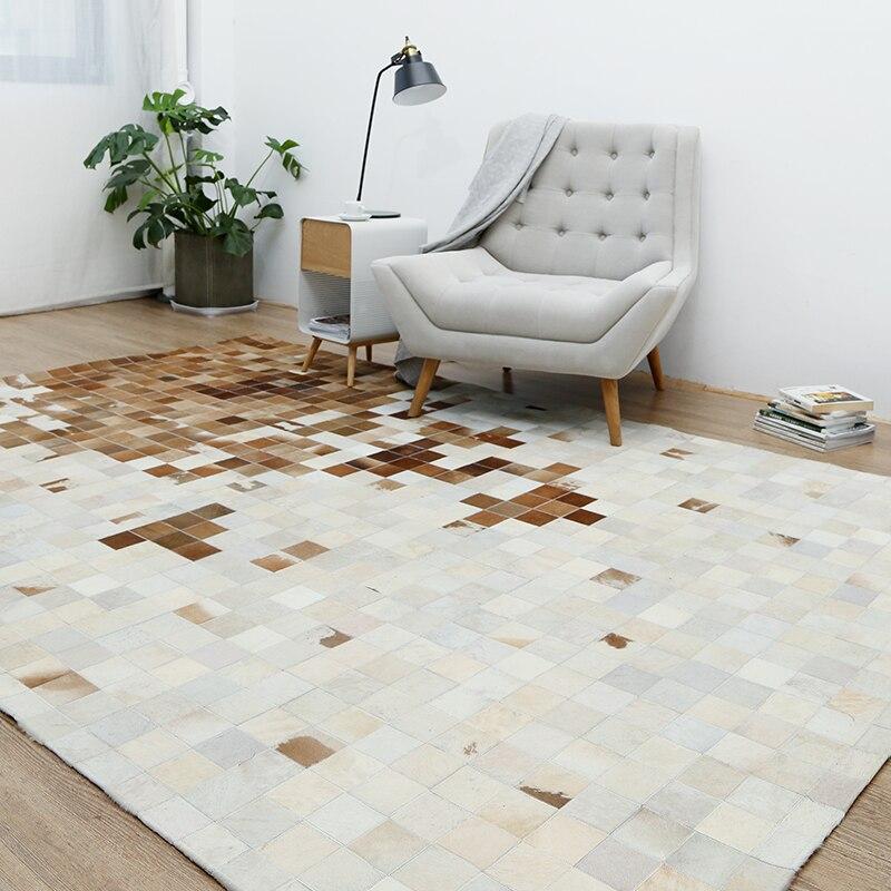 Américain style peau de vache de luxe couture plaid tapis, en cuir de vachette naturel tapis de fourrure pour salon décoration tapis de bureau