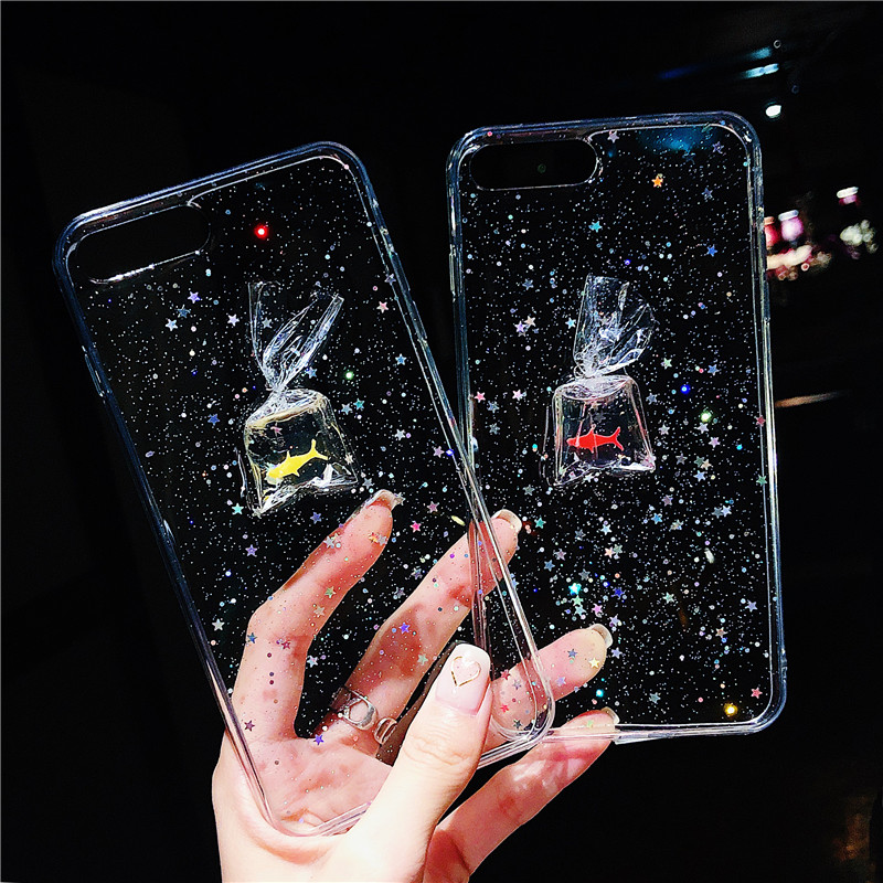 Fashion 3D Fish Bling Glitter Case for iPhone 7 Case for iPhone 8 7 6 6S Plus X Back Cover Flash Stars Soft Silicone Phone Cases