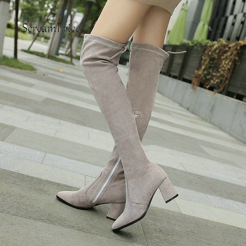 Women Suede Side Zipper Over The Knee Boots Comfortable Thick High Heel Thigh Boots Elastic Boots Black Gray women suede slip on over the knee boots fashion winter rivet comfortable square heel elastic boots black gray dark gray