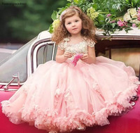 2019 Cheap Lovely For Country Garden Blush Pink Flower Girl Dresses Daughter Toddler Pretty Kids Pageant Formal First Holy Gowns