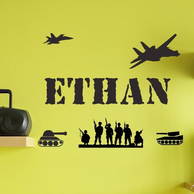 CUSTOM MADE PERSONALIZED BOY GIRL CHILD NAME ARMY MEN TANKS Vinyl ...
