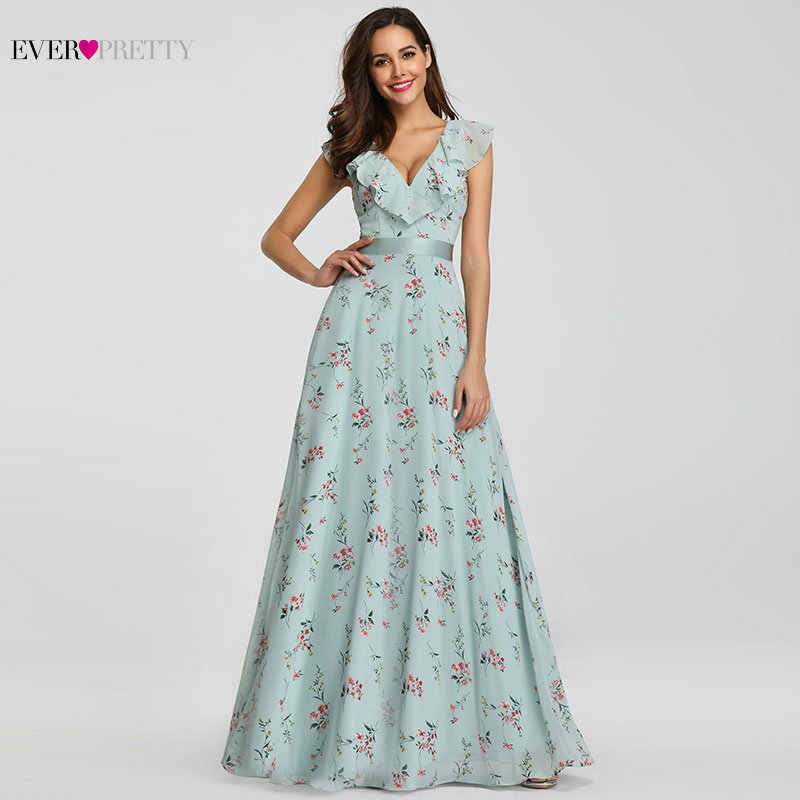 Bridesmaid Dresses 2019 Ever Pretty EP07241 Long Floral Chiffon A-line V- neck Spring 144149166884