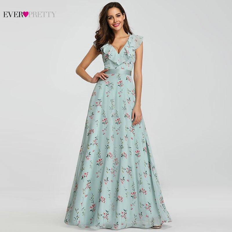 Bridesmaid     Dresses   2020 Ever Pretty EP07241 Long Floral Chiffon A-line V-neck Spring Wedding Beach   Dress   Women Party   Dresses