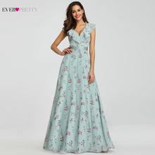 Bridesmaid Dresses 2019 Ever Pretty EP07241 Long Floral Chiffon A-line V-neck Spring Wedding Beach Dress Women Party Dresses(China)