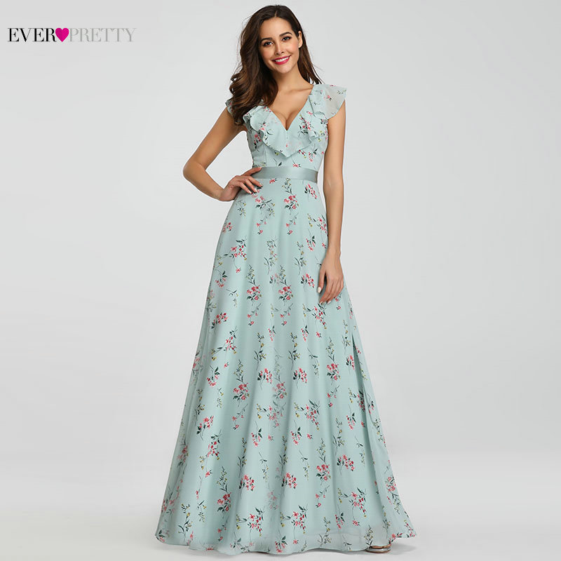 Bridesmaid Dresses 2020 Ever Pretty EP07241 Long Floral Chiffon A-line V-neck Spring Wedding Beach Dress Women Party Dresses