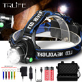 15000LM Fishing Headlight V6 L2 LED Headlamp Zoomable Camping Torch Head Lamp 3Mode Cycling Light Use 2x18650 Battery Have Gift