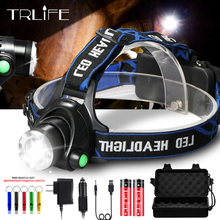 2500LM HeadLight headLamp CREE XM-L2 LED Lamp Flashlight Light L2 Headlamp 3 mode led light + AC / Car charger + 2*6000 Battery ultra bright 3 led 3 mode headlamp with clip 2 cr2032