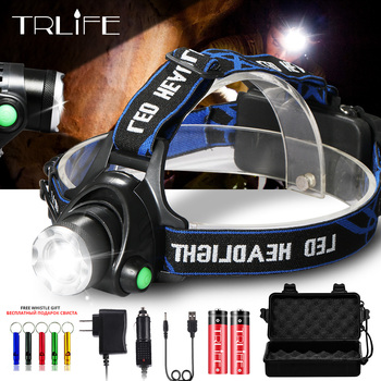 4000LM Fishing Headlight V6 L2 T6 LED Headlamp Zoomable Camping 18650 Battery Head Lamp 3Mode Cycling Light Waterproof With Gift