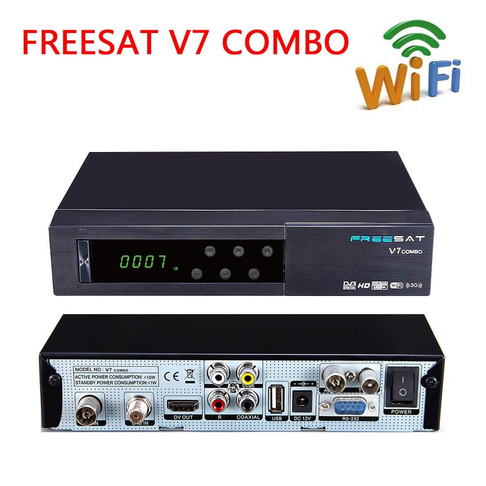 2017 NEW Smart TV Box Freesat V7 COMBO DVB-S2 DVB-T2 digital satellite tv receiver network sharing Support USB WIFI Media Player i box rs232 dvb s satellite smart sharing nagra 3 dongle black