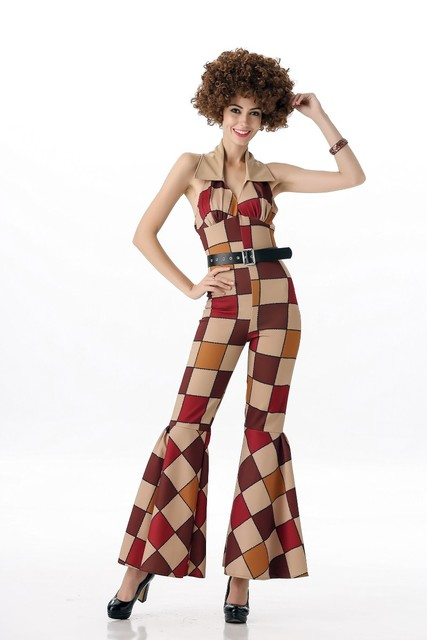 free shipping halloween costume new arrival 70s vintage disco jumpsuit costume