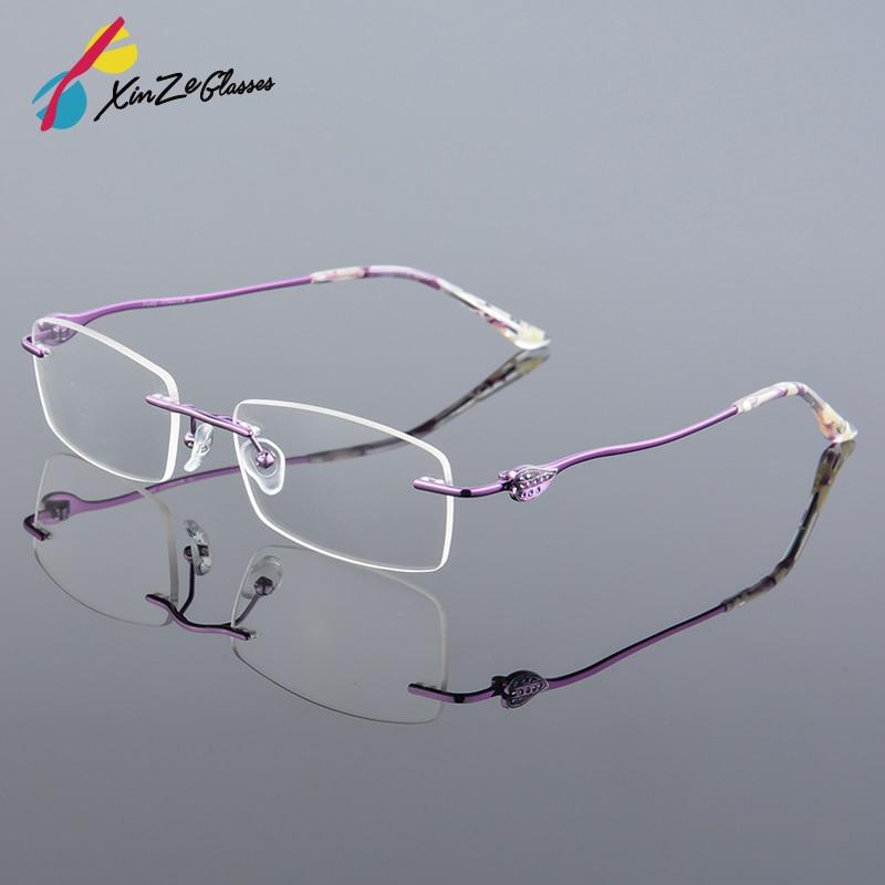 XINZE New Rimless Glasses memory titanium flexible anteojos de mujer - Accesorios para la ropa