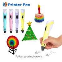 2017 Nuovo 3D Penna Stampante 3D FAI DA TE Penna Disegno A Penna Penne Migliore per I Bambini con 200 M 20 Colori PLA Filamento 1.75mm di Natale di Compleanno regalo