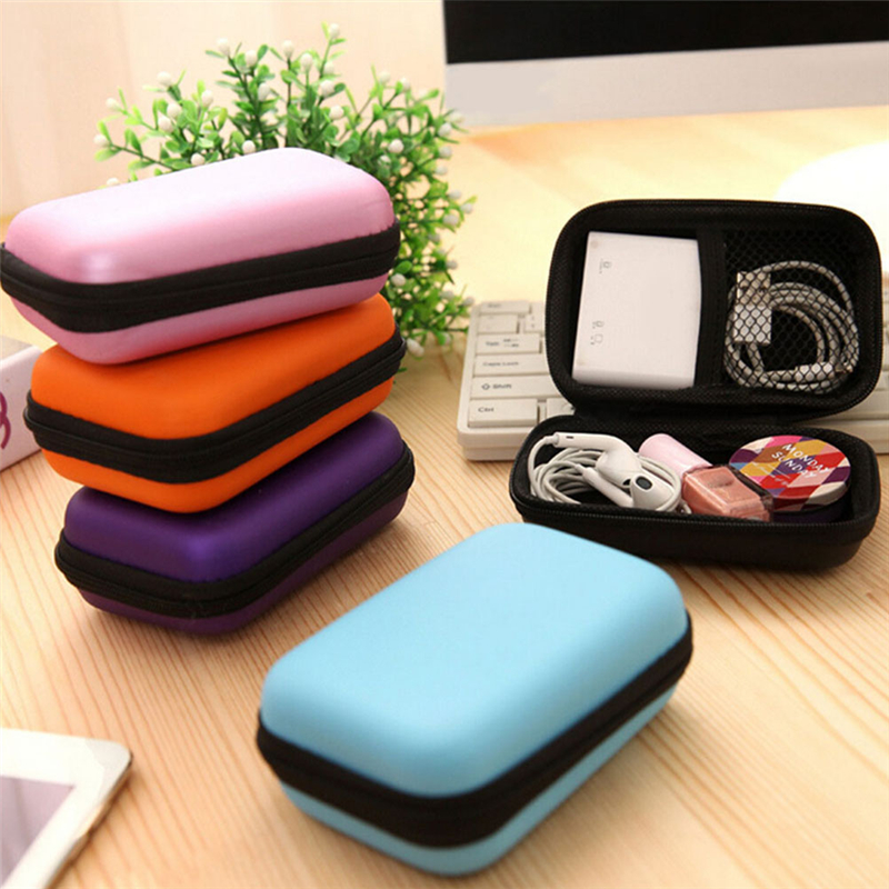 1PC Cosmetic Bags Hard Nylon Carry Bag 6 Colors Compartments Case Cover Headphone Earphone Jewelry Bag(China)