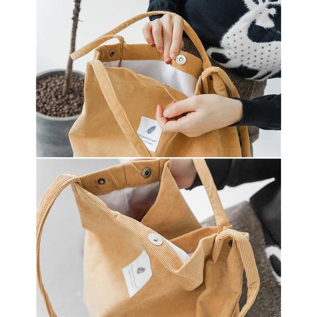 High Capacity Women Corduroy Tote Ladies Casual Shoulder Bag Foldable Reusable Shopping Beach Bag WML99 5