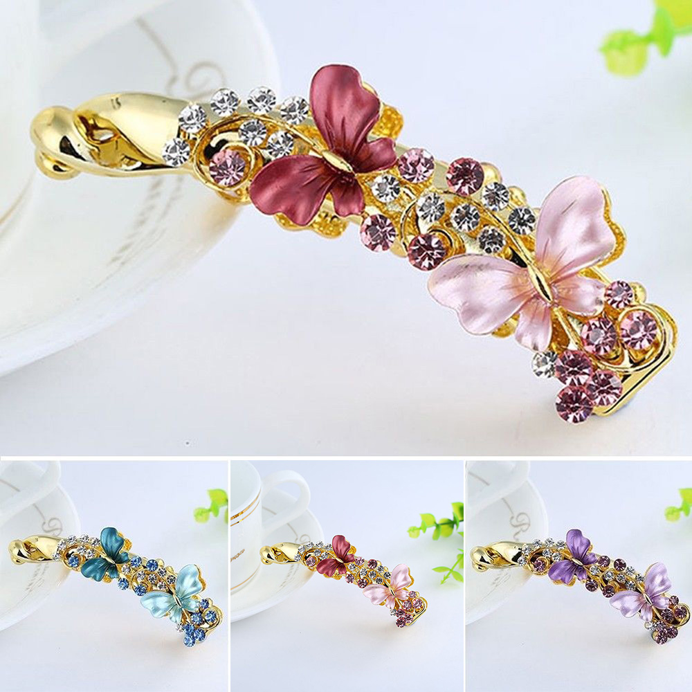 Lady Elegant Barrettes Butterfly Alloy Banana Hairpin Claw Ponytail Holder Hair Clip Hair Accessories   Headwear