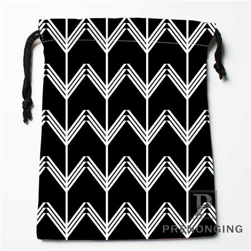 Custom Black White Wave Drawstring Bags Printing Fashion Travel Storage Mini Pouch Swim Hiking Toy Bag Size 18x22cm 171203-04-10